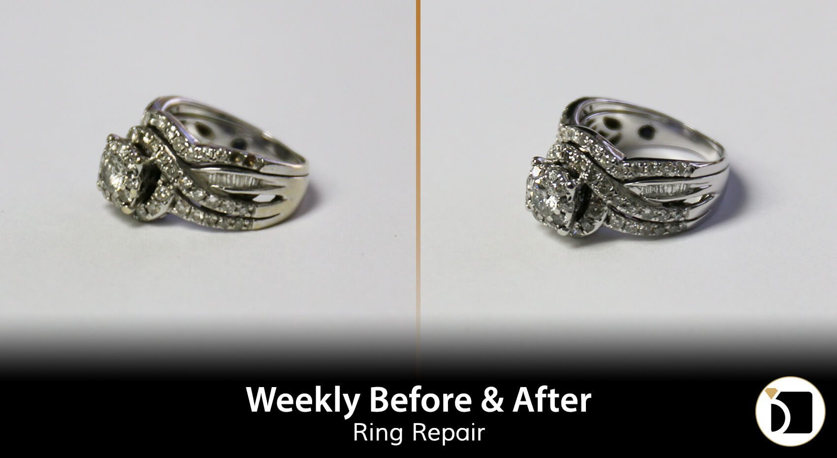Image Showcasing a Double Diamond Ring Repair. Weekly Before After 93
