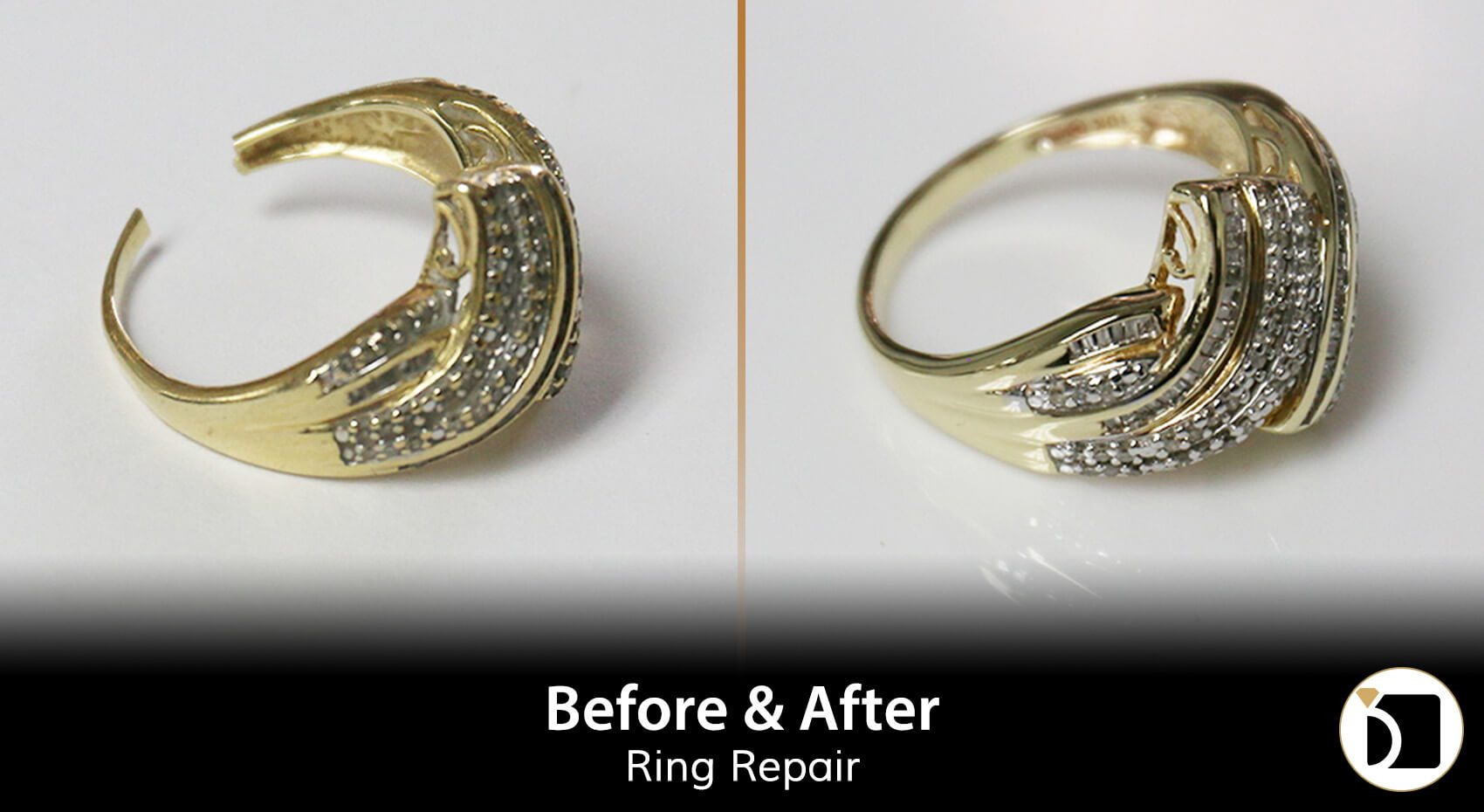 Image Showcasing a Gold Ring Broken Shank Repair. Weekly Before After 101