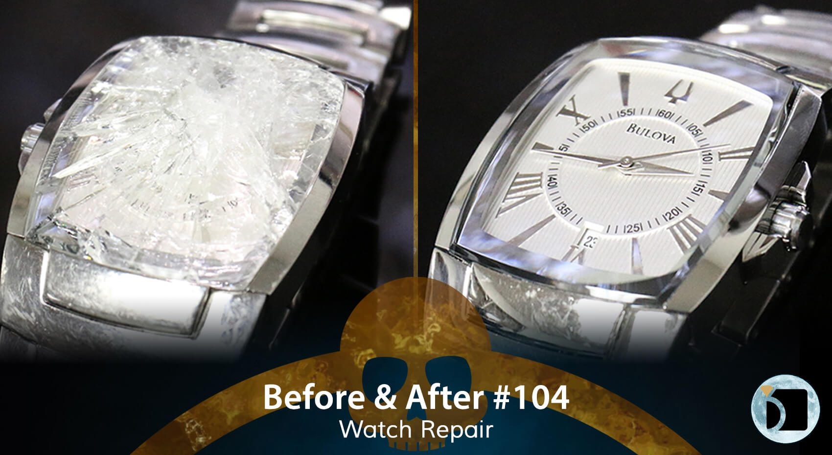 Image Showcasing a Bulova Watch Crystal Repair Model Number 11428230 Case Number C876952. Before After 104