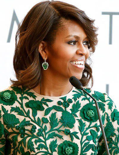 Image showing Michelle Obama wearing first lady jewelry