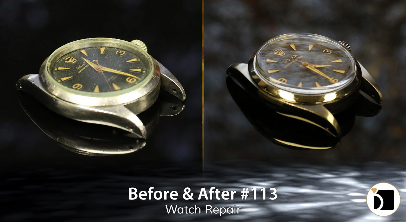Image Showcasing a rolex watch repair. Before After 112