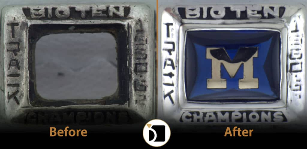 Image showing ring repair before and after