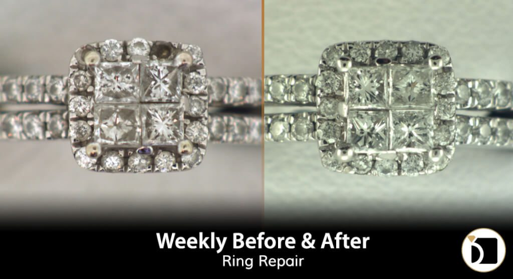 Image Showcasing A Wedding Ring Gemstone Replacement. Weekly Before After 81
