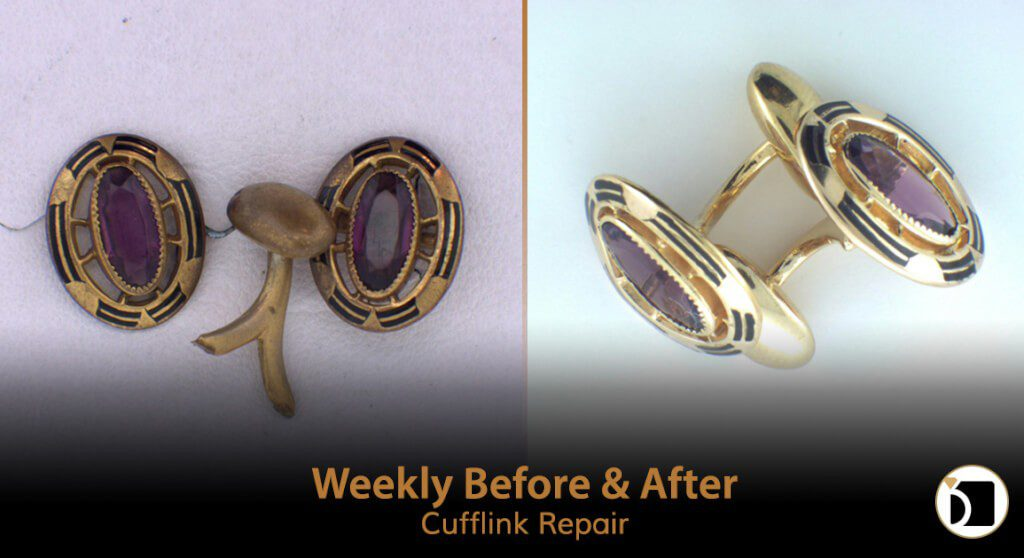 Image Showcasing Weekly Before After 53: a Cufflink Repair
