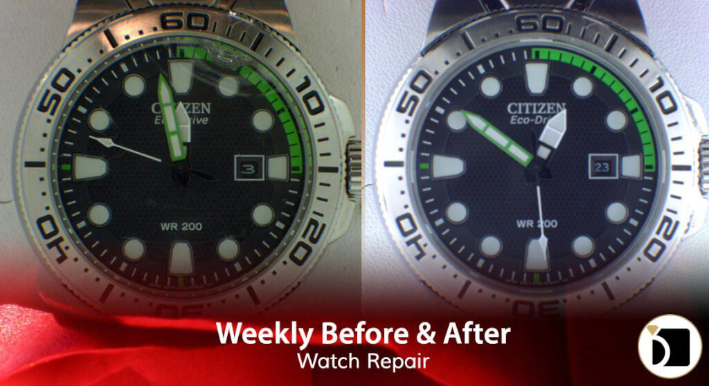 Image Showcasing Citizen Eco Drive Watch Model 351021641 Serial E168S116541 Repair & Restoration. Weekly Before After 69