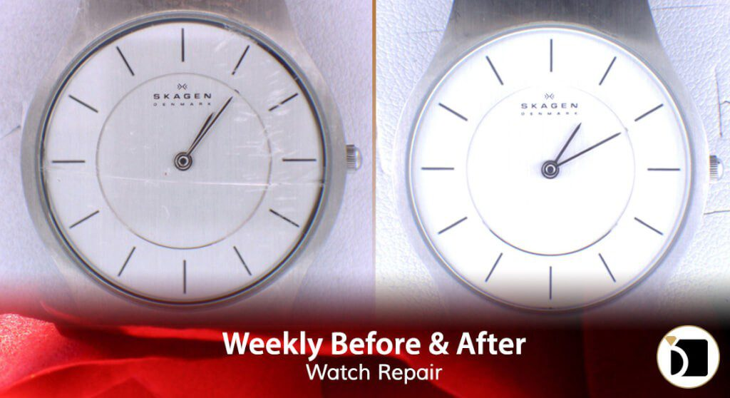 Image Showcasing Skagen Watch Model 2451405 Case 233LSS Repair & Restoration. Weekly Before After 71