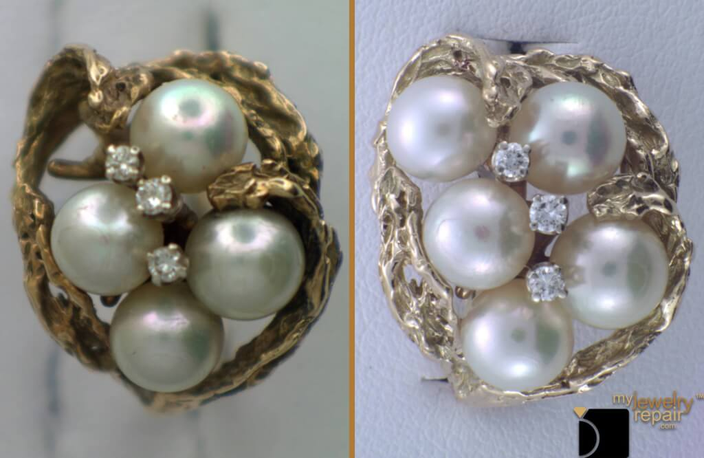 Image Showcasing A Pearl Ring Before and After a Repair