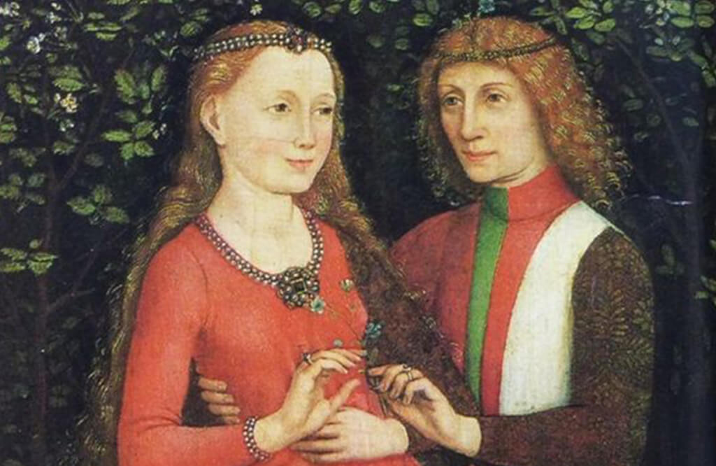 Painting showcasing Mary of Burgundy receiving the first Diamond Engagement Ring