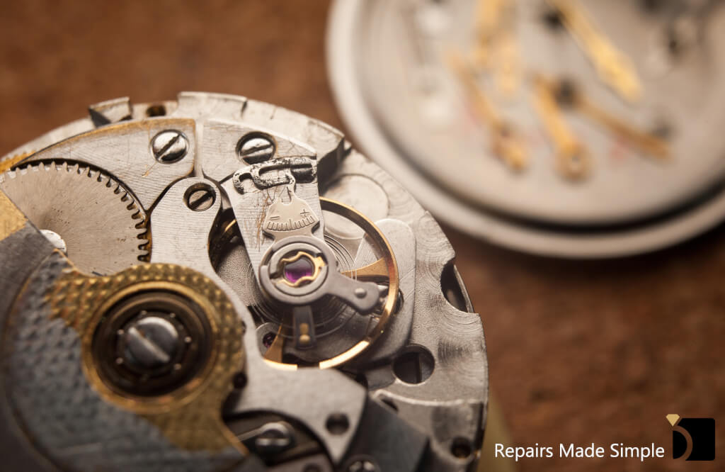 Image showcasing automatic watch movement repair